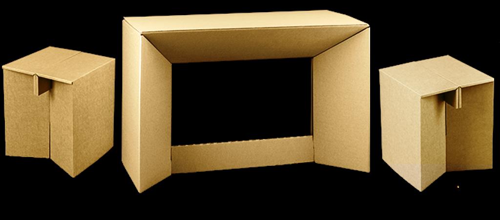 Jednorázový papírový nábytek z vlnité lepenky Praha