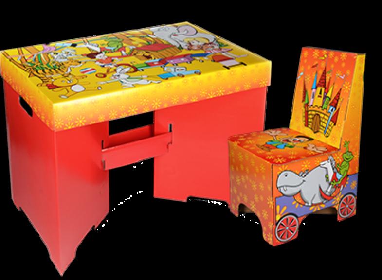 Jednorázový dětský papírový nábytek z vlnité lepenky Praha