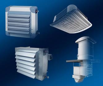 Air conditioning, dehumidifying, heating units, ventilators, ventilating fans.