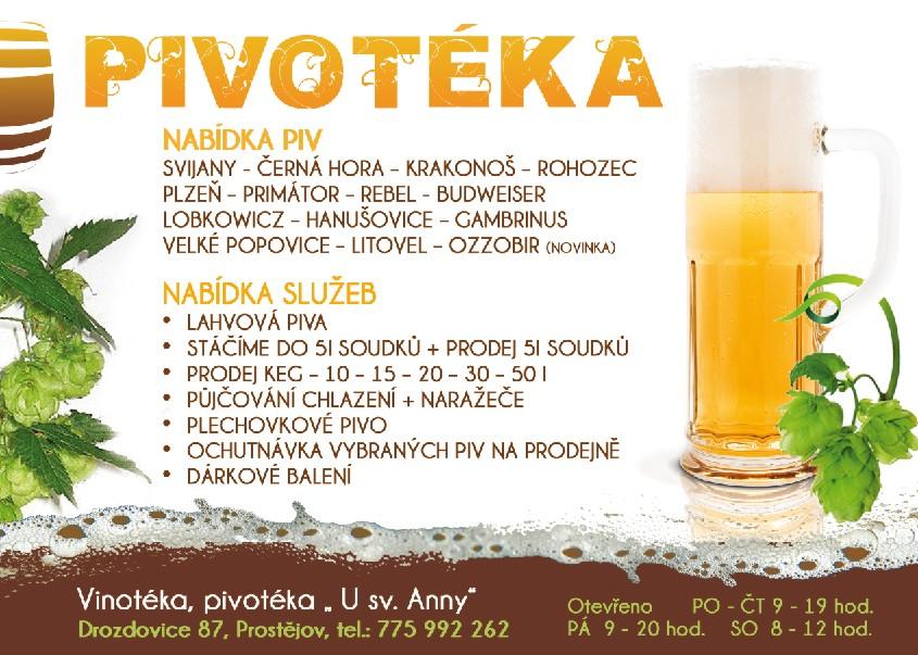 Pivotéka, vinotéka, zahradní párty, párty pípy Prostějov