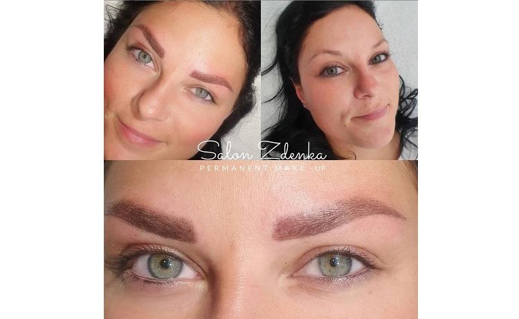 vláskování obočí - před a po aplikaci permanentního make-upu