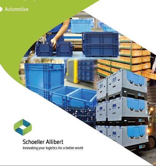 Pevné a skládací paletové kontejnery pro automobilový průmysl