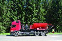 Výspravy a opravy výtluků na pozemní komunikaci, silnici tryskovou metodou