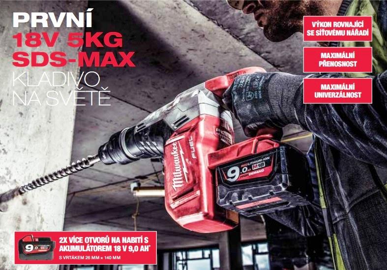 Vrtací a bourací aku kladivo Milwaukee SDS-MAX - první 18V 5kg kladivo na světě!