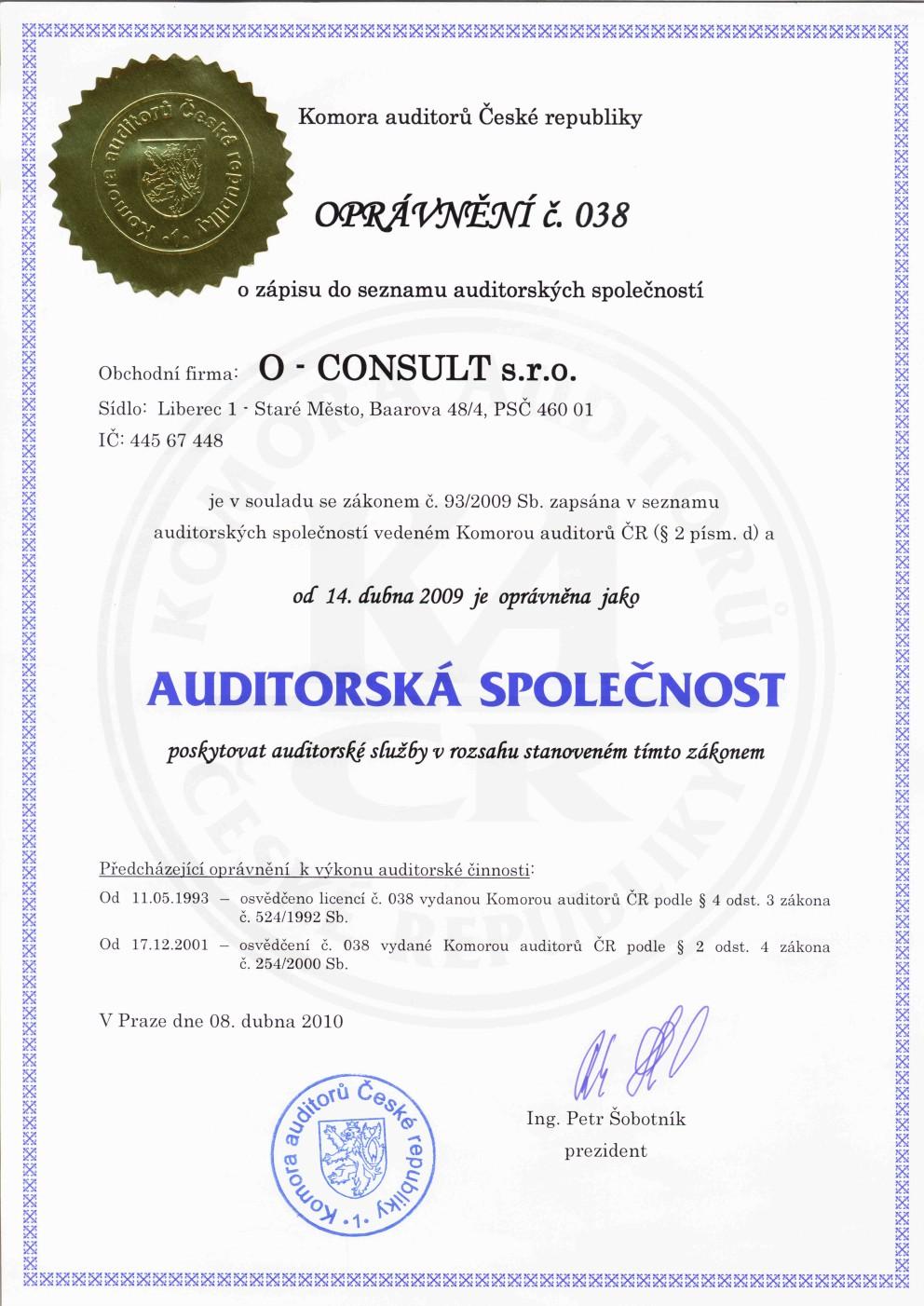 Auditorské služby pro menší i větší firmy O-CONSULT s.r.o.  Liberec