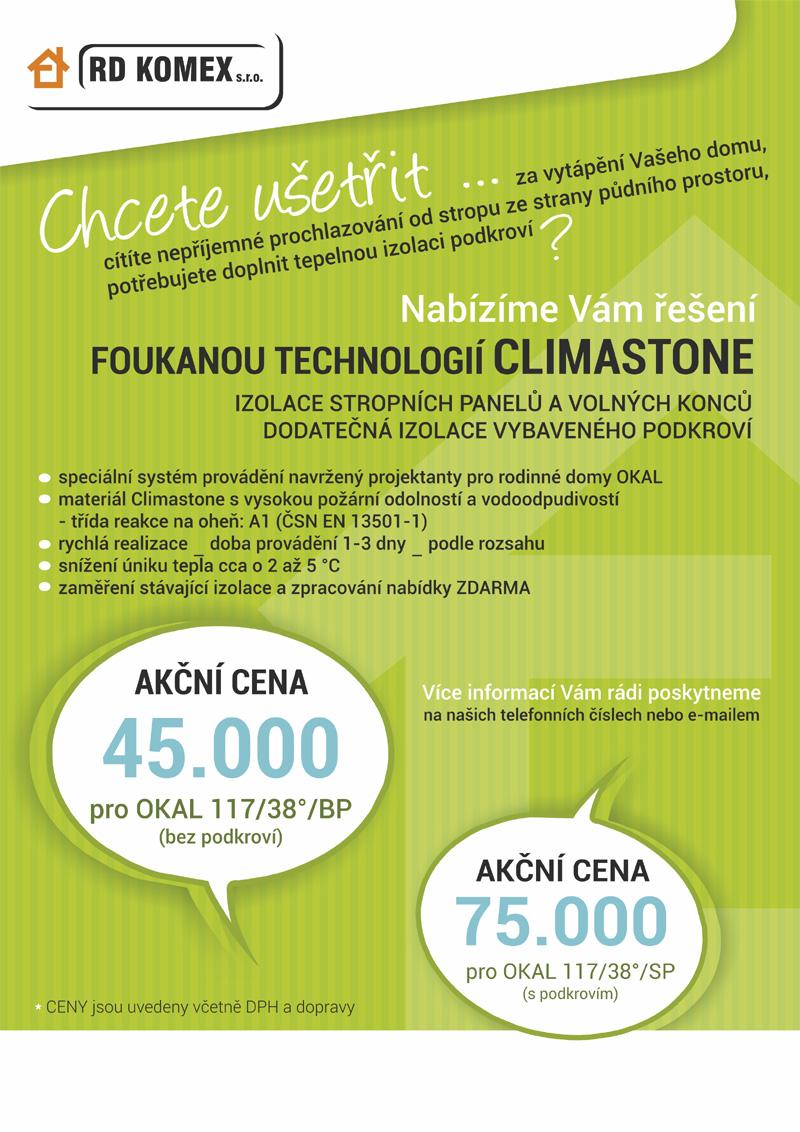 Zateplení stropu a konstrukce podkroví pro domy OKAL foukanou technologií Climastone Jeseník, Brno
