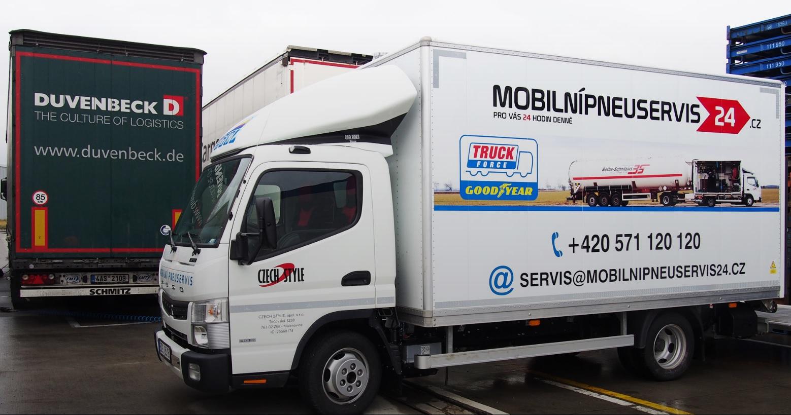 Síť mobilních pneuservisů, mobilní pneuservis k dispozici 24 hodin denně - pro osobní i nákladní vozy