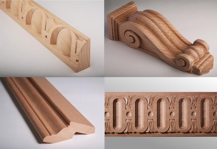 Rezby z masívneho dreva, vyrezávané lišty, drevené doplnky k nábytku
