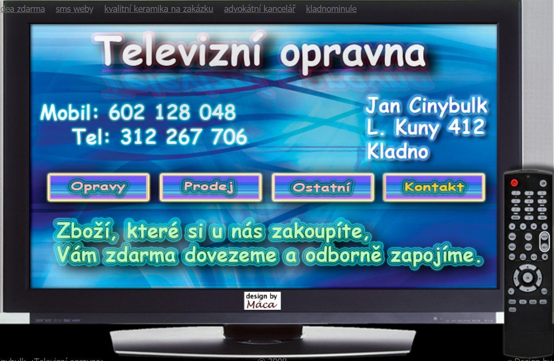 Oprava a servis televizorů v bytech  Kladno - TV klasické, plazmové, LCD, videa, CD a DVD přehrávače