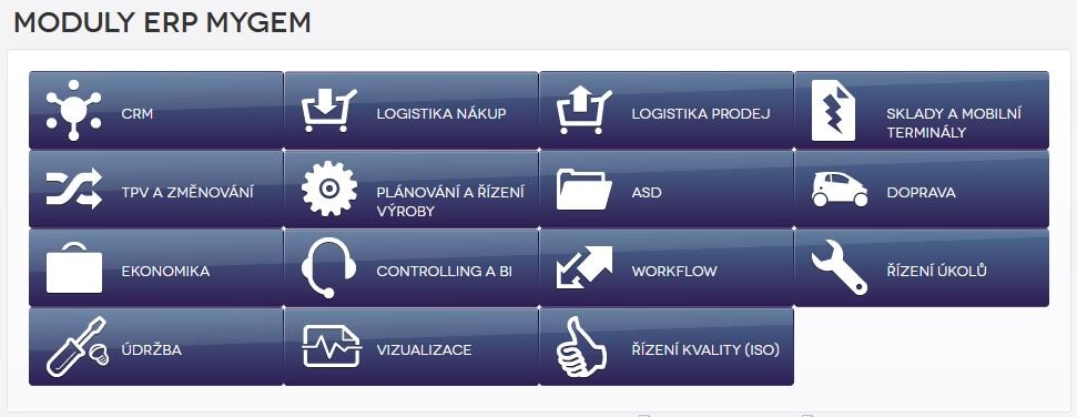 moduly informačního systému myGEM