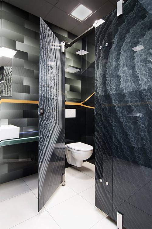 skleněná sanitární příčka s keramickým potiskem Image Glass