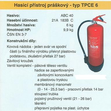 Hasicí přístroj práškový – typ TPCE 6