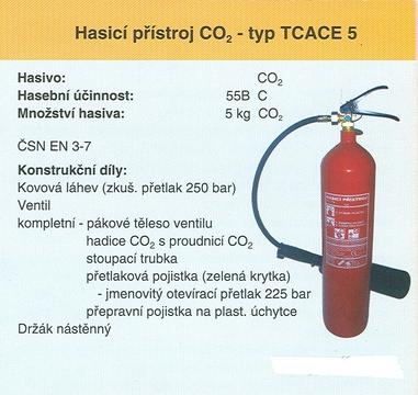 Hasicí přístroj CO2 – typ TCACE 5