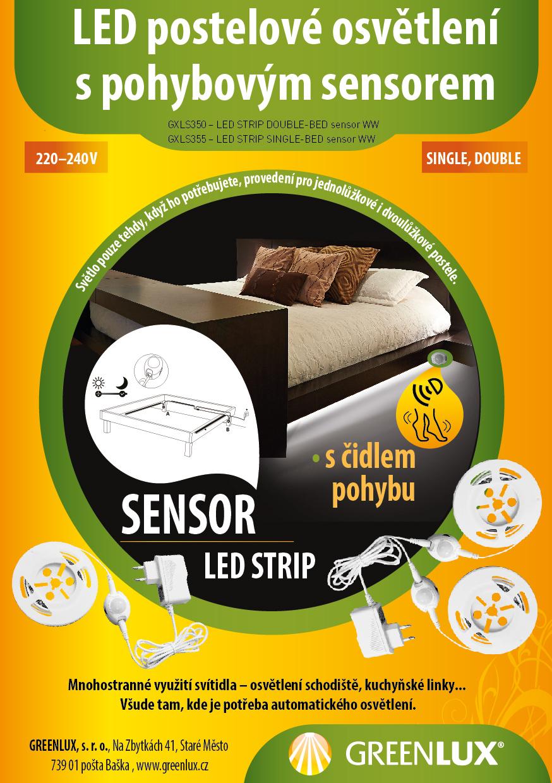 Postelové LED strip svítidlo s čidlem pohybu - osvětlení s pohybovým sensorem Greenlux
