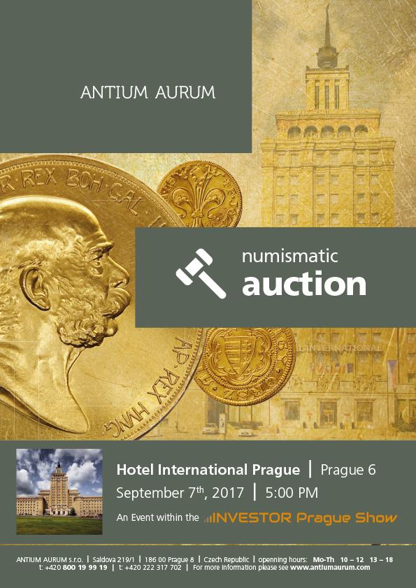 Numizmatická aukcia Praha - očakávaná medzinárodná udalosť 7. septembra 2017