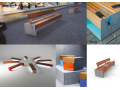 Doplňky pro parkové lavičky Smartcité - lavičky s integrovaným USB nabíjením, ocelovými stolky, Led podsvícením