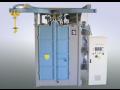 Tryskání, čištění kovových dílů v otryskávací kabině ocelovým granulátem, komorové tryskání