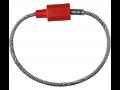 Plomba kovová s ocelovým lankem červená Hexagon