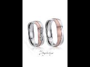 Moderní ocelové snubní prsteny  -  zlacení, osazení zirkony