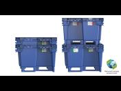Efektivní pevný paletový plastový kontejner s lyžinami či kolečky je vhodný pro skladování a přepravu
