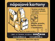 Správné třídění odpadu - kontejner s oranžovou nálepkou na nápojový karton