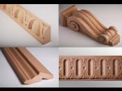 Řezby z masivního dřeva, vyřezávané lišty, dřevěné doplňky k nábytku