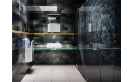Glass sanitary partitions made with printed safety glass – Czech Republic