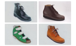 Pestrý výběr obuvi, ortopedické pomůcky