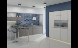 materiál Softixx - kuchyňská dvířka vkombinaci dekorů šedá a bílá