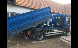 Dovoz písku, štěrku, stavebních materiálů vozidlem se sklopným kontejnerem