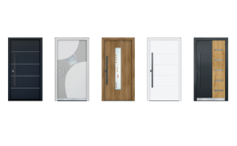 Sortiment doplňků pro vchodové dveře - kliky, madla a rozety