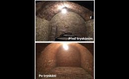 Renovace kvelbených vinných sklepů pomocí tryskání