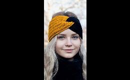 Dámská pletení čelenka s uzlem dvoubarevná