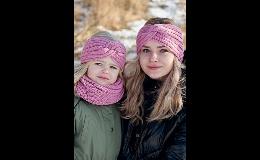 Dívčí a dámská pletená čelenka podšitá fleecem