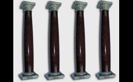Sloupy, balustrády z mramoru, pískovce nebo žuly