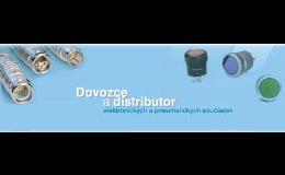 konektory, ventilátory, relé, elektromagnety, pneumatické prvky, tlačítka, spínače, odrušovací prvky, filtry