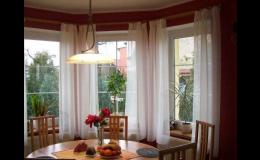 Vyšívané záclony, závěsy, dekorační látky Olomouc