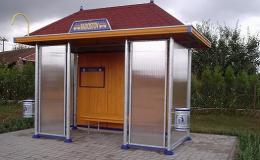 Moderní prosklené autobusové zastávky, čekárny - výroba
