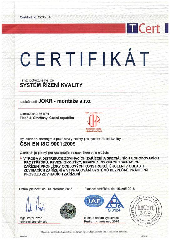Certifikát systému řízení kvality