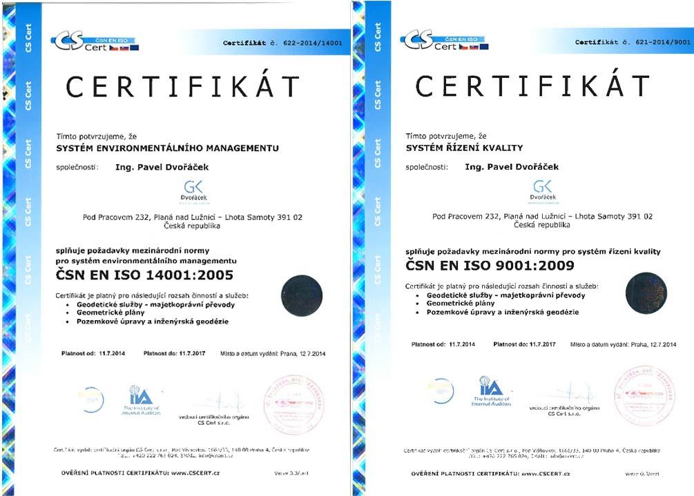 Certifikát systému řízení kvality a enviromentálního managementu