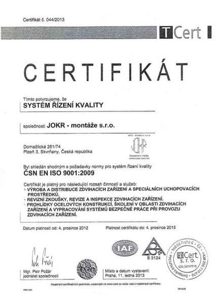 Mezinárodní certifikace na jeřáby, speciální uchopovací prostředky a zdvihací zařízení