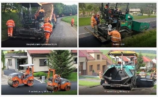 pokládka asfaltového betonu finiserem - SÚS Zlínska