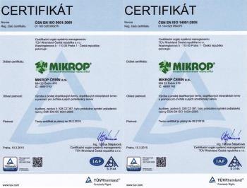 certifikát, MIKROP ČEBÍN a.s.