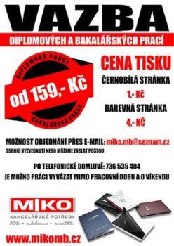 vazba diplomov�ch a bakal��sk�ch prac�, MIKO - Kancel��sk� pot�eby Anna Kratochv�lov�
