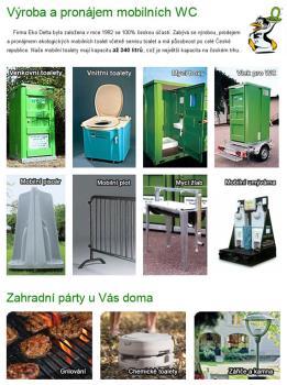 Pron�jem mobiln� wc, kadibudky, Eko Delta, s.r.o.