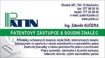 Patentový zástupce, Ing. Zdeněk Kučera PATIN - ochranné známky