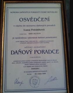Osvědčení, vedení účetnictví a daňové evidence, Ivana Petrásková