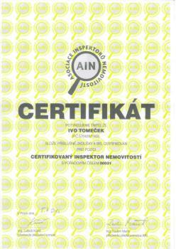 Certifik�t, Inspektor nemovitost� Ostrava s.r.o.