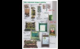Odpadkové koše a přístřešky, směrníky a ukazatele