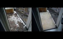 Úklid balkónů od ptačího trusu Praha - před a po